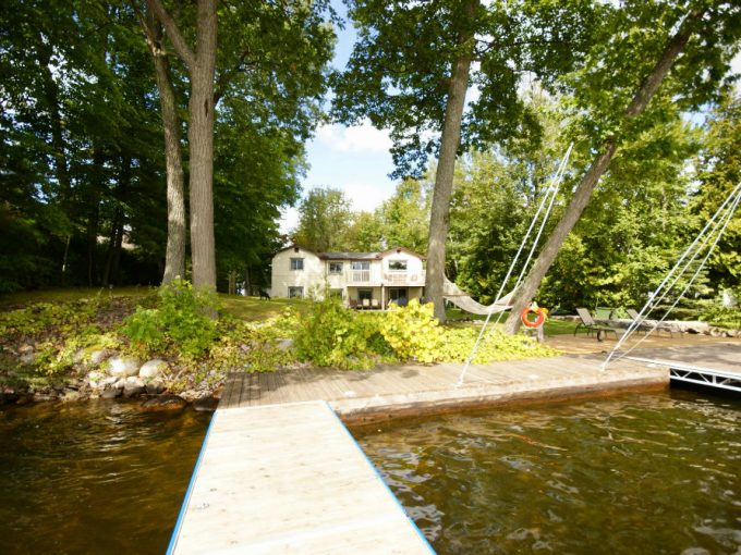 Cottage with deep crystal clear water off the dock on Cameron Lake, Kawartha Lake region